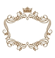 Retro frame with royal crown and flowers vector image vector image