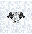 Seamless pattern and emblem gym club vector image vector image