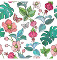 seamless pattern with tropical jungle leaves and vector image vector image
