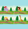 set animal playing rollerskate in park vector image vector image