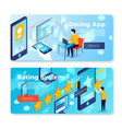 set bright banner templates dating app vector image