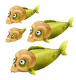 set green fish swim with masks in the form of a vector image vector image