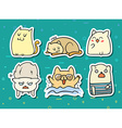 Set of 6 sticker doodle cats with different vector image vector image