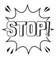 stop word comic book coloring vector image