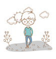 stylish boy cartoon outfit nature clouds vector image vector image