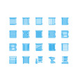window blinds shades line icons various room vector image vector image
