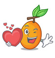 with heart ripe yellow plums on the tree cartoon vector image