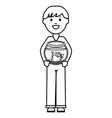 young man with aquarium bowl vector image