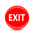 exit red glossy circle icon on white background vector image