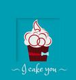 burgundy cake with a bow on a blue background vector image