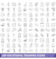 100 vocational training icons set outline style vector image vector image