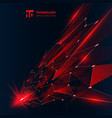 abstract technology red color triangles with vector image vector image