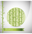 background with bamboo in circle and green ribbon vector image