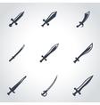 black sword icon set vector image vector image