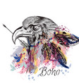 boho tribal design with eagle holding arrow vector image