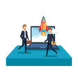 business people with rocket and laptop vector image