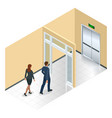 businessman going exit door sign emergency vector image vector image