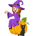 cartoon little witch sitting on halloween pumpkin vector image vector image