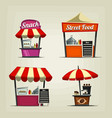 Cartoon snack street fast food stand coffee bar vector image