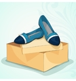 casual womans blue ballet flats vector image vector image