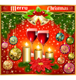 Christmas background with balls and glasses of win vector image vector image