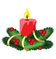 christmas sketch with red candle and fir branches vector image vector image