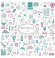 colorful hand-drawn doodle set for design vector image