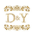 d and y vintage initials logo symbol the letters vector image vector image