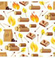 fire and wooden seamless pattern vector image