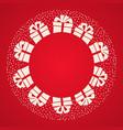 gift box ribbon bow falling snow christmas card vector image