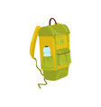 green-yellow backpack with bottle of water in vector image