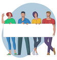 group young people with banner vector image vector image