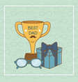 happy fathers day card with trophy cup vector image vector image