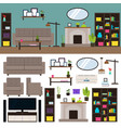 living room interior elements collection vector image