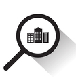 magnifying glass with City icon vector image vector image