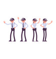 male and female security guard hand gesturing vector image