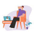 man subscriber watching video blogger on laptop vector image