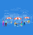 men and women characters relaxing at outdoor cafe vector image vector image