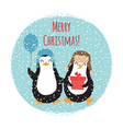 merry christmas cute penguins vintage card design vector image