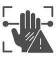 palm recognition attention solid icon palmprint vector image vector image