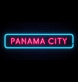 panama city neon sign bright light signboard vector image vector image