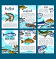 posters for fresh fish seafood market vector image vector image