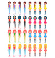 pretty women in stylish outfits from all sides set vector image