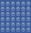 seamless blue pattern with line gift boxes vector image vector image
