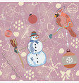 seamless winter pattern with christmas ornaments vector image vector image