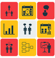 set of 9 executive icons includes presentation vector image