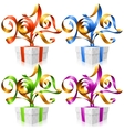 set of ribbons and gift boxes Symbol of New Year vector image vector image