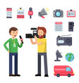set thematic symbols of broadcasting and interview vector image vector image