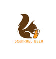simple abstract squirrel with beer glass design vector image vector image