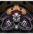 skull mascot logo with snake vector image vector image